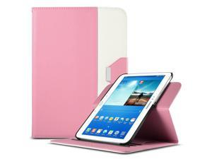 ULAK Smart Shell Case 360 Degree Rotating Folio Smart PU Leather Cover Case-Slim Lightweight Stand Cover with Auto Sleep/Wake Feature for Samsung Galaxy Tab 3 10.1 P5200 (2013) (Rotating-Pink+White)