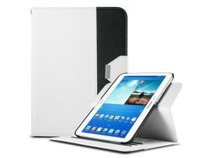 ULAK Smart Shell Case 360 Degree Rotating Folio Smart PU Leather Cover Case-Slim Lightweight Stand Cover with Auto Sleep/Wake Feature for Samsung Galaxy Tab 3 10.1 P5200 (2013) (Rotating-White+Black)
