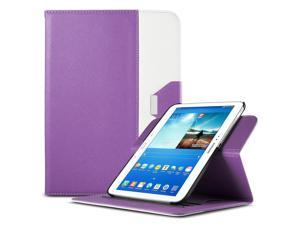 ULAK Smart Shell Case 360 Degree Rotating Folio Smart PU Leather Cover Case-Slim Lightweight Stand Cover with Auto Sleep/Wake Feature for Samsung Galaxy Tab 3 10.1 P5200 (2013) (Rotating-Purple+White)