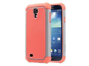 ULAK Galaxy S4 Slim Case, Shock Absorbing Hybrid Rubber Plastic Impact Rugged Slim Hard Case Cover Shell for Samsung Galaxy S4 S IV I9500 GS4 All Carriers (Grey+Coral Pink)