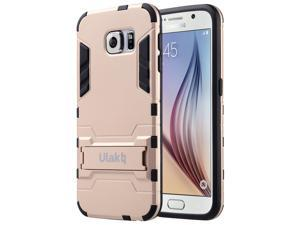 ULAK Galaxy S6 Case, Hybird Rubber Case Slim Shock Absorption Protection Cover for Samsung Galaxy S6 with Kick-Stand Feature (Rose Gold)