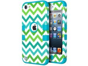 iPod Touch 5 Case,iPod Touch 6 Case, ULAK [ Colorful Series ] Hybrid Case for Apple iPod Touch 6 5th Gen Hard Pattern with Silicon Cover_2015 Released  (Green Wave/Blue)