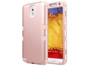 Note 3 Case,Galaxy Note 3 Case,ULAK 3 in 1 PC+Silicone Hybrid Dust Scratch Resistance Anti-slip Cover for Samsung Galaxy Note 3,Note III,N9000,N9005,Rose Gold