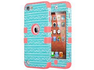 iPod Touch 6 Case,iPod Touch 5 Case,ULAK iPod Touch 6 5th Case Hybrid Hard Pattern with Silicon Case Cover for Apple iPod Touch 6 5th Generation (Wave Pattern/Rose Pink)