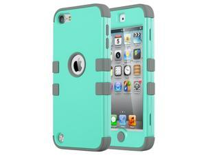 iPod Touch 6 Case,iPod Touch 5 Case,ULAK [Colorful Series] Hybrid Silicon Hard Case Cover for Apple iPod Touch 5 6th Generation (Aqua Mint/Grey)