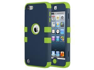 iPod Touch 6 Case,iPod Touch 5 Case,ULAK [Colorful Series] Hybrid Silicon Hard Case Cover for Apple iPod Touch 5 6th Generation (Dark Blue/Green)