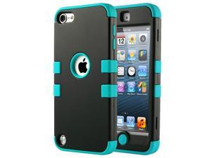 iPod Touch 6 Case,iPod Touch 5 Case,ULAK iPod Touch 6 5th Case Hybrid Hard Pattern with Silicon Case Cover for Apple iPod Touch 6 5th Generation (Black/Blue)