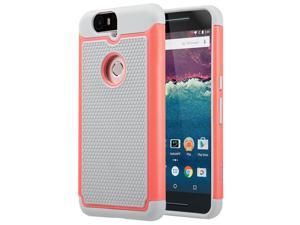 ULAK Google Nexus 6P Case, Heavy Duty Rugged Hybrid Cases Protective Skins Shock-Absorption/Impact Resistant Hard Bumper Cover for Google Huawei (2015 Release) (Coral Pink/Gray)