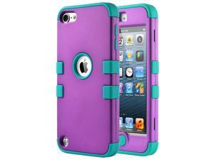 iPod Touch 6 Case,iPod 5 Case,5th Case,ULAK [Colorful Series] Anti-slip Cover 3 in 1 Hard PC+Soft Silicone Hybrid Dust Scratch Shock Resistance for iPod touch 5 6th Gen (Purple/Blue)