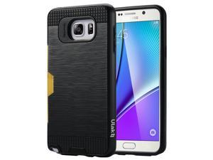 Samsung Galaxy Note 5 Case, ULAK Note 5 Case Hybrid TPU and Plastic Protective Case Slim Fit Cover with Card Slot for Samsung Galaxy Note 5 2015 Smartphone(Black/Black)