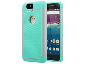 ULAK Google Nexus 6P Case, Heavy Duty Rugged Hybrid Cases Protective Skins Shock-Absorption/Impact Resistant Hard Bumper Cover for Google Huawei (2015 Release) (Gray/Mint Green)