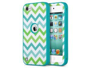 iPod Touch 6 Case,iPod Touch 5 Case,ULAK  Hybrid 3 Layer Hard Case Pattern Cover with Silicone Soft Shell Inside Case for Apple iTouch 6 5th Generation(B_Blue-green waves/Blue)