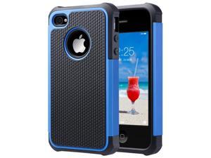 iPhone 4 Case,ULAK Heavy Duty Shockproof Durable Hybrid Dual Layer Rugged Protective Cases Cover with Hard Plastic and Soft Silicone for iPhone 4 4S (Black+Blue)