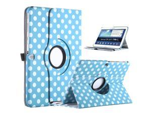 ULAK 360 Rotating Case For Samsung Galaxy Tab 3 10.1 inch Tablet P5200 P5210 Synthetic Leather Cover with Auto Sleep/Wake function (Light Blue Dot)(NOT Fit Note 10.1)