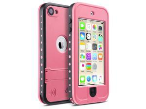iPod 6 Cases ,iPod 5 Cases ,iPod Touch 6th Generation Case,ULAK Waterproof iPod Touch Case For Boys Girls swimming Built-in Touch Screen for Dustproof Sweatproof with Kickstand (Pink)