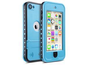 iPod 5 iPod 6 Waterproof Case,ULAK Waterproof iPod Touch Case For Boys Girls Built-in Touch Screen for Dustproof Sweatproof with Kickstand (Blue)