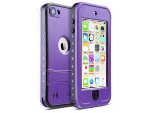 iPod Touch 6 Case ,iPod Touch 5 Case ,iPod 6 Cases,ULAK Waterproof iPod Touch Case For Boys Girls swimming Built-in Touch Screen for Dustproof Sweatproof with Kickstand (Purple)