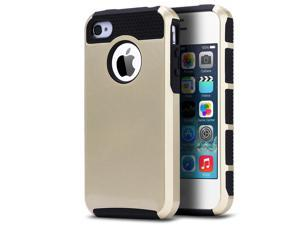 ULAK iPhone 4S 4 Slim Case,Rugged Shockproof Dual Layer Slim Hybrid Hard Shell for iPhone 4S & iPhone 4 with Hard PC and Soft Inner TPU(Gold/Black)