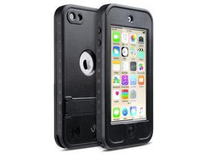 iPod 6 Cases,iPod 5 Cases,iPod 5 iPod 6 Waterproof Case,ULAK Waterproof iPod Touch Case For Boys Girls Built-in Touch Screen Dustproof Sweatproof with Kickstand for iPod Touch 5 6th Generation(Black)