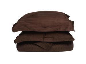 Impressions Full/Queen Striped Duvet Cover Set, 400-Thread Egyptian Cotton, Mocha