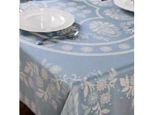 "Cody Direct 100% Cotton Floral Tablecloth, Stylish ABIGAIL Design, 52x70"" Oblong, Blue"