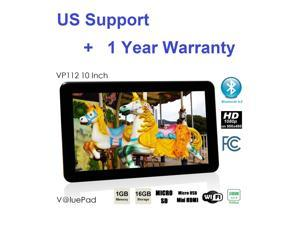 2015 VP112 10.1 Inch Quad Core Kids and Adult Tablet + 2x Scr Prot 1GB 16GB HDMI Bluetooth 4.0 Android 4.4 Google Play Store Dual Camera MicroSD USB