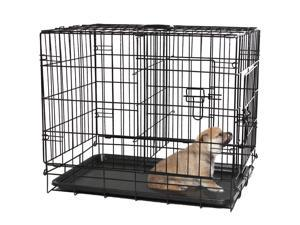 OxGord Double-Door Easy Folding Metal Wire Pet Kennel Crate for Dogs, Cats, Rabbits (X-Small)