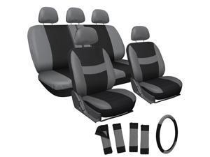 OxGord 17Pcs Seat Cover - Gray & Black