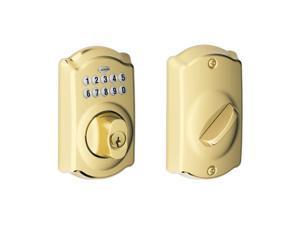 Schlage BE365 V CAM 505 Camelot Keypad Deadbolt, Bright Brass