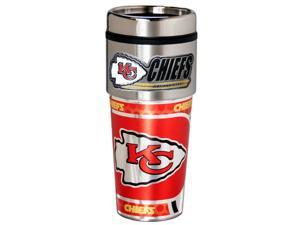 NFL Kansas City Chiefs 16oz Stainless Steel Travel Tumbler with Hi-Def Metallic Graphics Silver