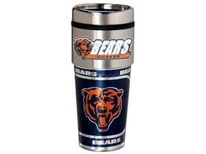 NFL Chicago Bears 16oz Stainless Steel Travel Tumbler with Hi-Def Metallic Graphics Silver