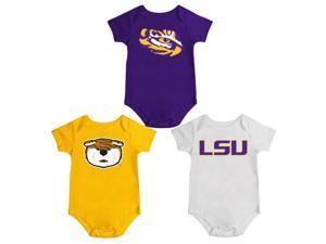 LSU Tigers Louisiana State Onesie Creepers 3 Pack Set