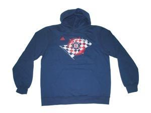 Chicago Fire Adidas Navy Red-White-Flag-Logo LS Hoodie Pocketed Sweatshirt (L)