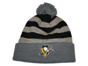 Pittsburgh Penguins Mitchell & Ness Gray Black Cuffed Knit Beanie with Poof