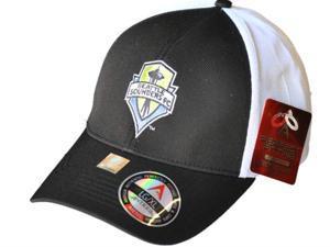 Seattle Sounders Antigua Black Performance Technical Fit Phase Hat Cap (S/M)