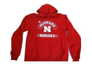 Nebraska Cornhuskers Adidas 1869 Screen Printed Red Hoodie Sweatshirt (M)