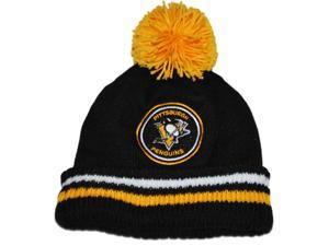 Pittsburgh Penguins Mitchell & Ness Black Stripe Cuffed Knit Beanie with Poof