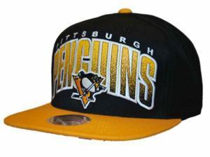 Pittsburgh Penguins Mitchell & Ness Black Gold Double Bonus Snapback Hat Cap