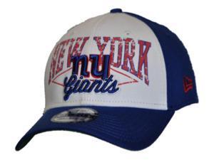 New York Giants New Era Blue White 39Thirty Longsnapper Flexfit Hat Cap (S/M)