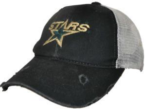 Dallas Stars Retro Brand Black Worn Vintage Style Mesh Adj Snapback Hat Cap