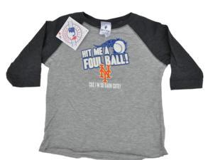 New York Mets SAAG Toddler Gray Two Tone 3/4 Sleeve Hit Me a Foul T-Shirt (2T)