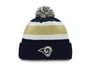 St. Louis Rams 47 Brand Tri-Tone Breakaway Knit Cuffed Poofball Beanie Hat Cap
