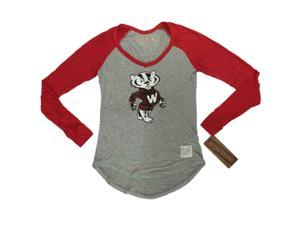 Wisconsin Badgers Retro Brand Women Red Two Tone V-Neck Long Sleeve T-Shirt (L)