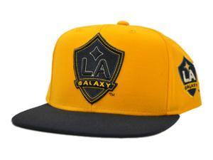 Los Angeles LA Galaxy Adidas Gold Navy Flat Bill Adjustable Snapback Hat Cap