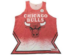 Chicago Bulls NBA Mitchell & Ness Faded Red Dye Sublimated Print Tank Top (L)