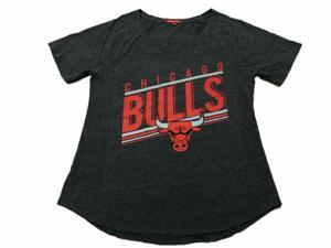 Chicago Bulls NBA Mitchell & Ness WOMEN Charcoal Short Sleeve V-Neck T-Shirt (M)
