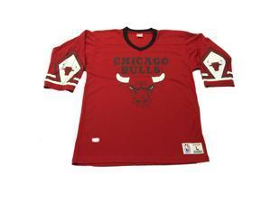 Chicago Bulls NBA Mitchell & Ness Red & Black 3/4 Sleeve Team Jersey (L)