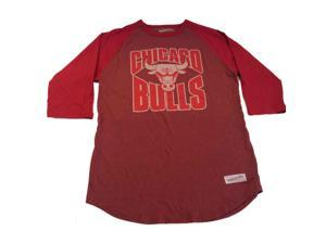 Chicago Bulls Mitchell & Ness Red Baseball Style Tailored Fit Vintage T-Shirt(L)