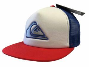 Quiksilver Keeper White Blue Mesh Classic Snapback Adjustable Flatbill Hat Cap