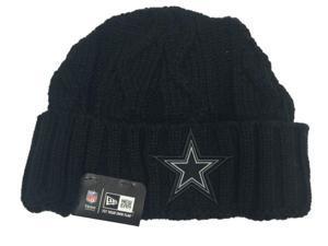 Dallas Cowboys NFL New Era Black on Black Winter Cuffed Knit Beanie Hat Cap
